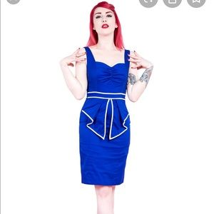 Blue Sailor Pencil Dress size 14 pin up dress